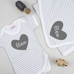 Personalised Baby Grow And Blanket New Baby Gift Set - christening gifts