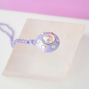 Lilac Iridescent Ufo Necklace - necklaces & pendants