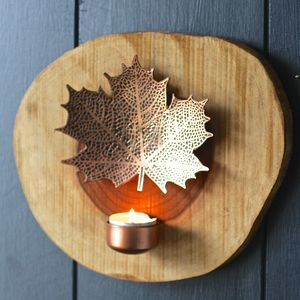 Copper Maple Leaf Tealight Holder