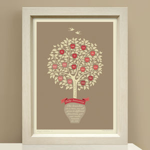 Ruby Anniversary Gift 'Personalised Family Tree Print'