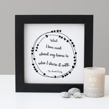 Personalised Wreath Quote Print