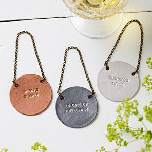 Personalised Metallic Leather Bottle Tag