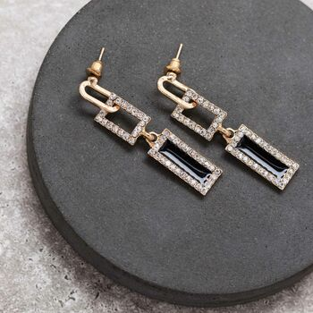 Gold and Black Long Earrings