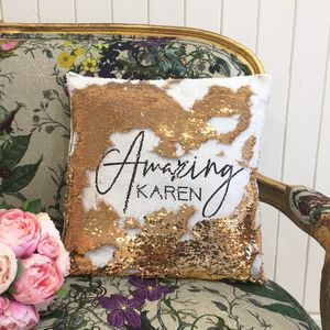 Personalised 'Amazing' Sequin Cushion Cover