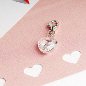 White Cubic Zirconia Faceted Heart Charm