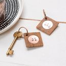 Personalised Oak And Copper Key Rings