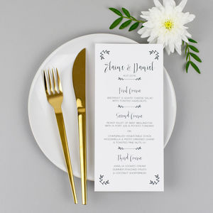 Modest Love Wedding Menu