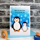 'Penguin And Baby' Personalised Christmas Card