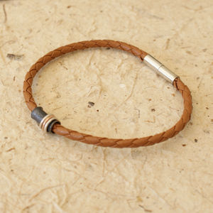 Mens Leather Bracelet With Silver And Gold Rings