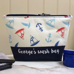 Personalised Nautical Wash Bag - wash & toiletry bags