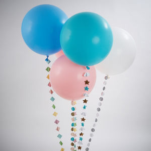 Giant Pastel Round Balloon With Handmade Tail - outdoor decorations