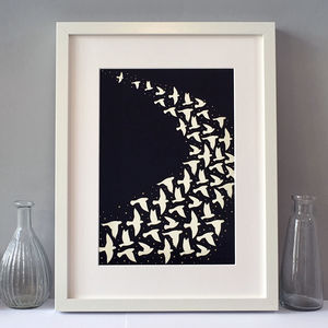 Flock Of Birds In Night Flight Print, Wall Art - posters & prints