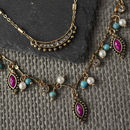 Antique Gold And Aqua Layered Charm Necklace