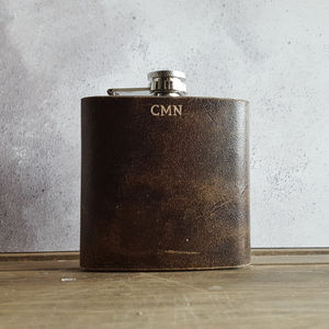 Personalised Leather Hip Flask With Initials - gifts for him