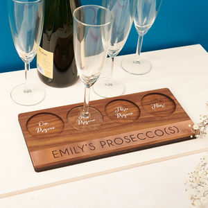 Personalised Copper And Walnut Prosecco Holder - prosecco gifts