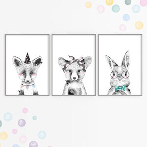 Woodland Animals Nursery Art Print Set With Party Hats