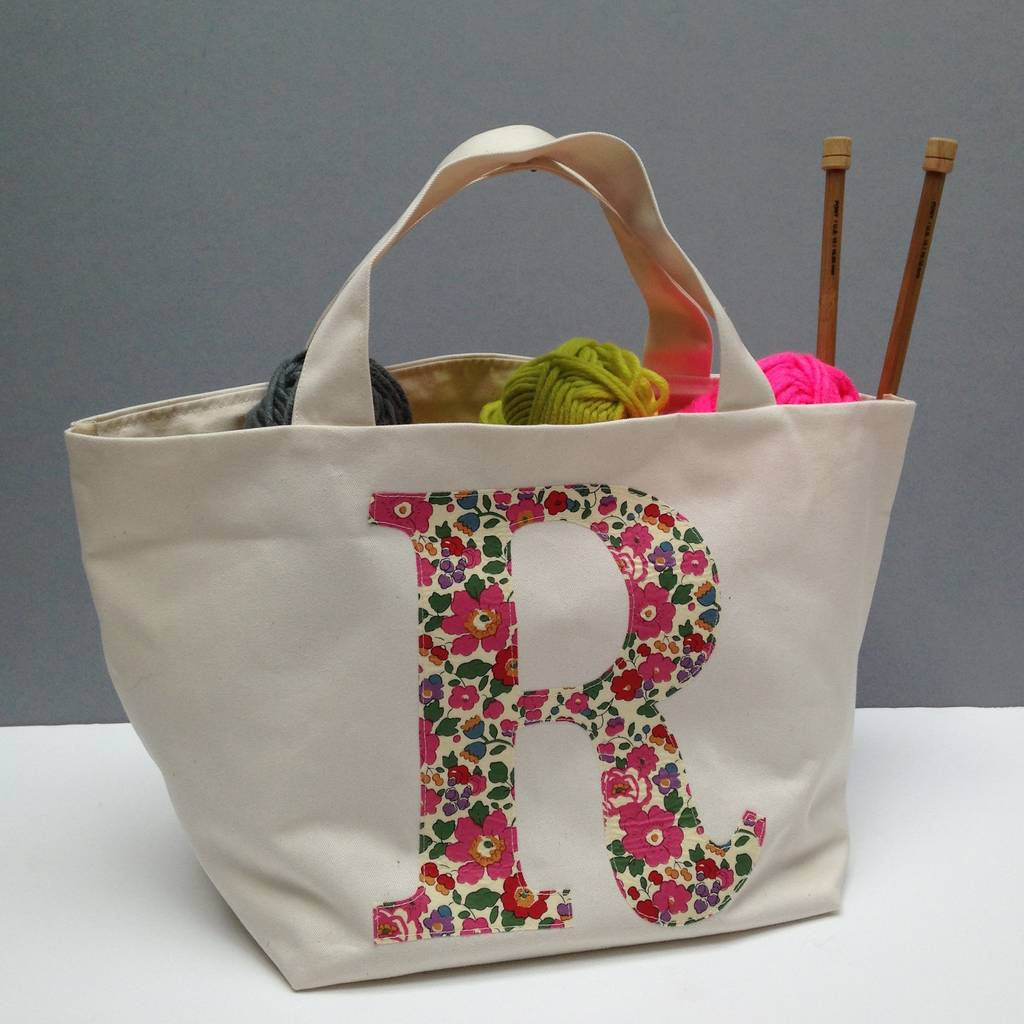 Liberty Print Personalised Knitting Bag