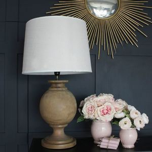 Large Acacia Wood Ball Lamp Base With Shade