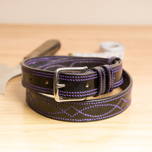 Vibe3 Decoratively Handstitched English Leather Belt - belts