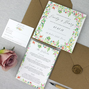 'The Emily' Floral Watercolour Wedding Invitation