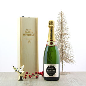 Christmas Personalised Champagne And Wooden Gift Box - champagne & prosecco