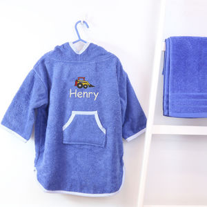 Personalised Boy's Hooded Digger Poncho
