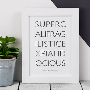Framed 'Supercali' Mary Poppins Black And White Print