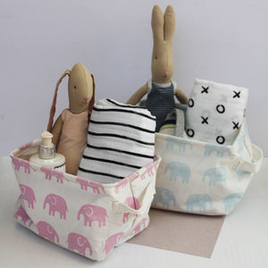 Small Elephant Print Storage Basket - children's room accessories