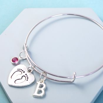 Personalised Baby Feet Silver Initial Birthstone Bangle