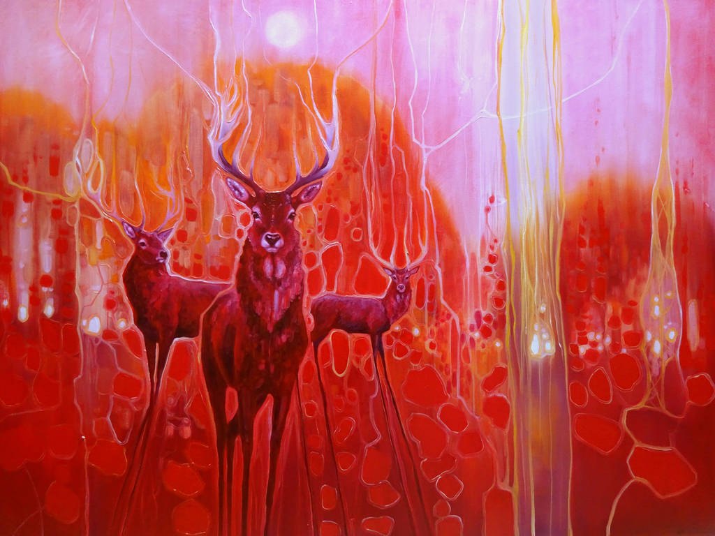 red magic a red painting with red deer at dawn by gill bustamante ...