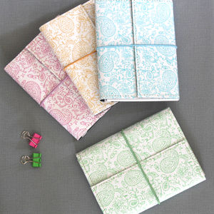 Recycled Pastel Paisley A6 Lined Notebook - gifts for her