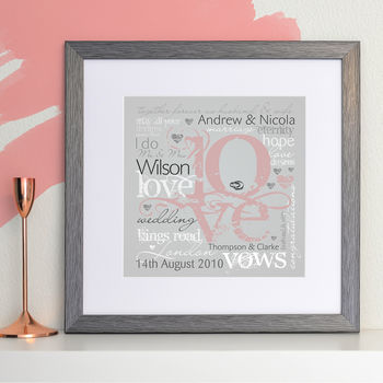 grey frame with mount - pink/grey print