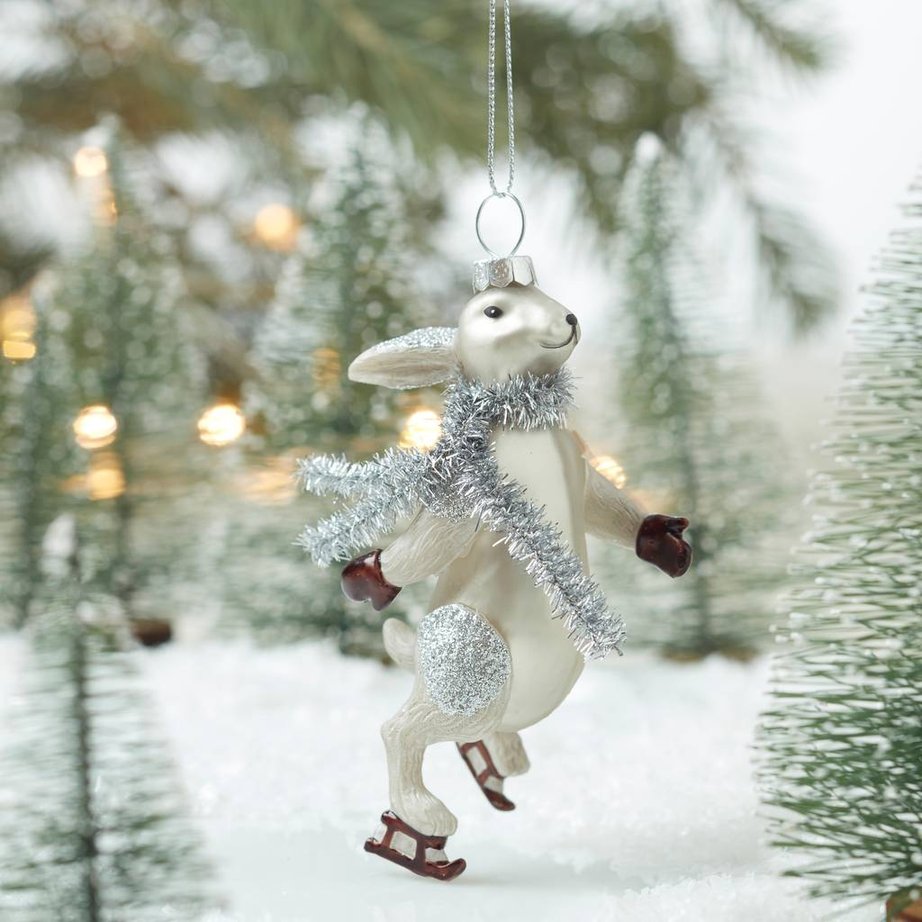 vintage style ice skating rabbit decoration