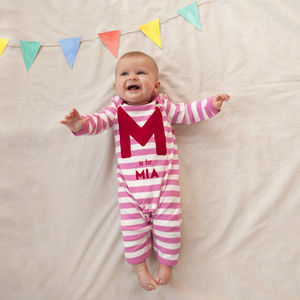 A Is For…Personalised Girls Striped Romper