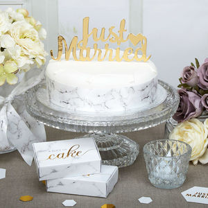 Gold Just Married Cake Topper - cake toppers & decorations