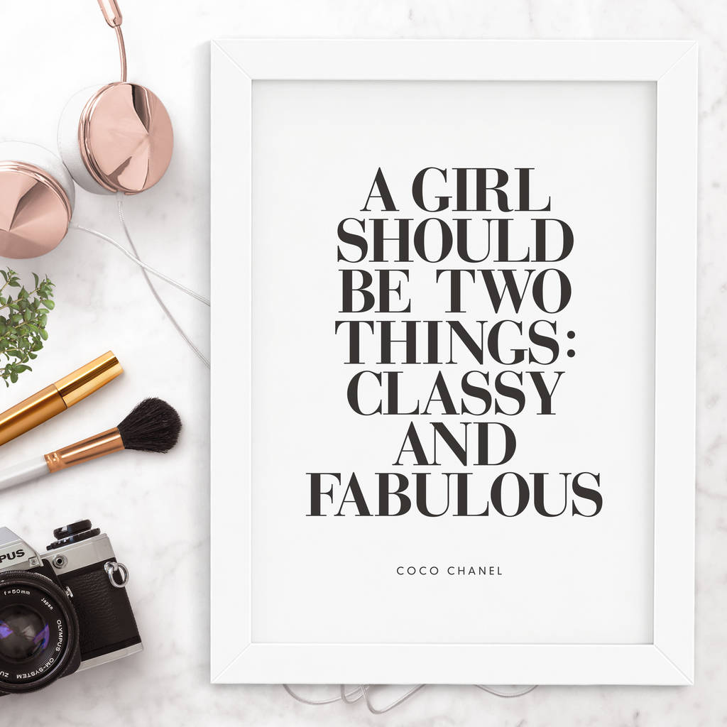 8c82dbdb8 coco chanel 'classy and fabulous' typography print by the motivated ...