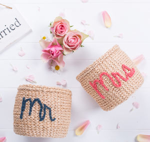 Mr And Mrs Embroidered Baskets - bedroom