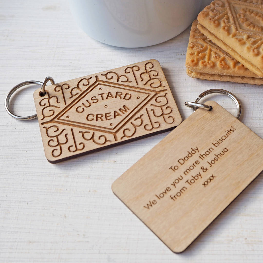 personalised custard cream biscuit wooden keyring by wood paper ... 345e8f23e5ec