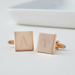 Personalised Rose Gold Initial Tile Cufflinks - cufflinks