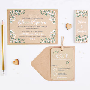 Botanical Kraft Wedding Invitation Bundle - invitations