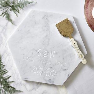Botanical Personalised Marble Serving Board - best wedding gifts