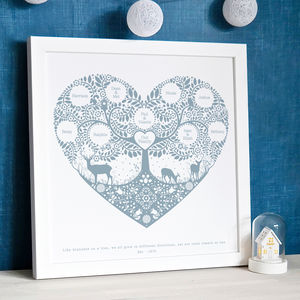 Personalised Woodland Family Tree Print - family & home