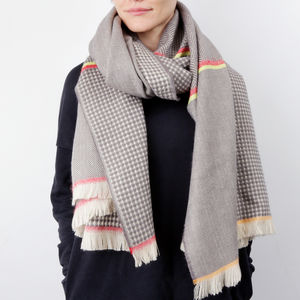 Grey Herringbone And Diamond Scarf With Neon Detail - winter sale