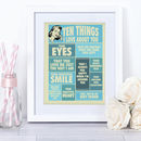 Ten Things I Love About You, Personalised Print For Her