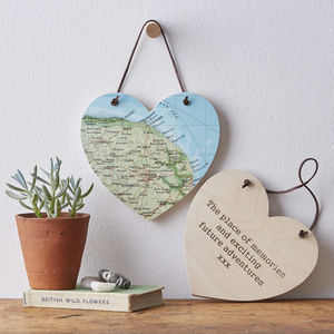 Personalised Map Location Hanging Heart - personalised