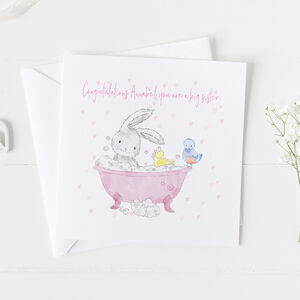 New Baby Card For Girls, Christening Card Girls ..3v5a