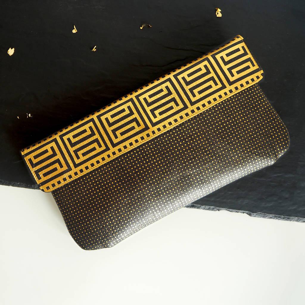 Gold Clutch Bag Purse Black Geometric Athena Greek Pattern Printed On Leather By Tovi Sorga