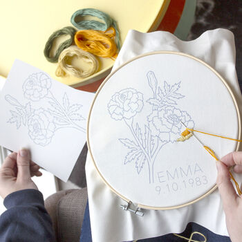 Personalised Birth Flower Month Embroidery Kit