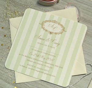 'Gold And Mint Wedding Invitations' - wedding stationery