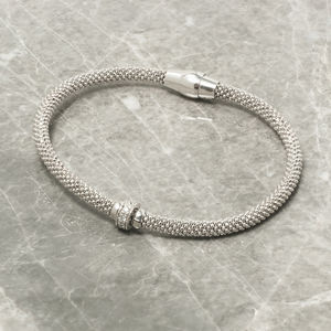 Diamond Cut Bracelet With Pave Ring